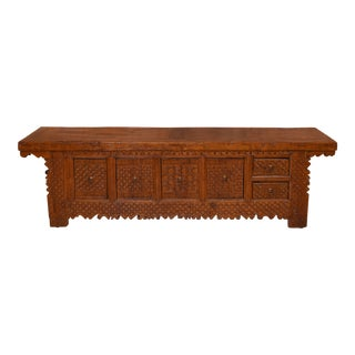 Mid Century Vintage Monumental Wood Carved Buffet For Sale