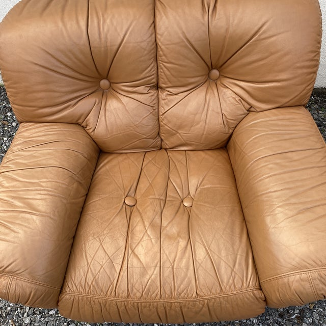 1980s Oversized Italian Leather Club Chairs - a Pair For Sale - Image 5 of 13
