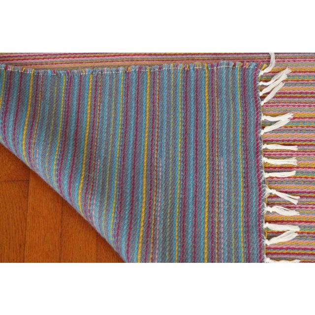 Flat Weave Wool Striped Pink Kilim Rug - 2'8'' x 7'6'' - Image 8 of 9