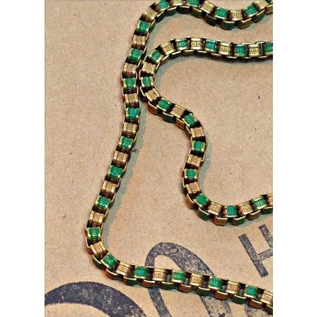 1920s Vintage Art Deco Green & Gold Enamel Necklace Pendant For Sale - Image 4 of 6