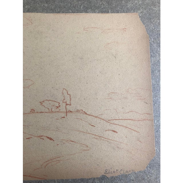 Plein air conte drawing of a hilly landscape by Eliot Clark (1883-1980) probably drawn during the 1930s. This could...