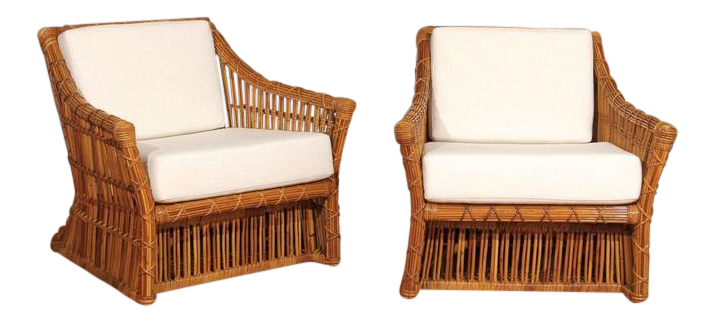 Magnificent Pair Of Restored Vintage Rattan Club Chairs By McGuire For Sale