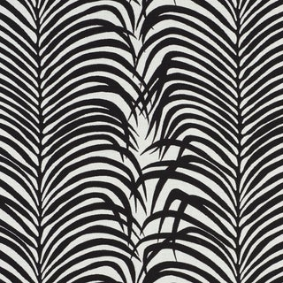 Schumacher Zebra Palm Indoor/Outdoor Fabric in Black For Sale