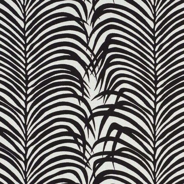 Schumacher Zebra Palm Indoor/Outdoor Fabric in Black For Sale