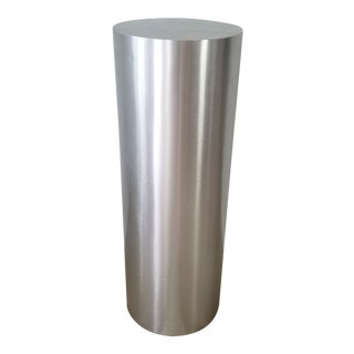 Postmodern Brushed Steel Round Pedestal . For Sale