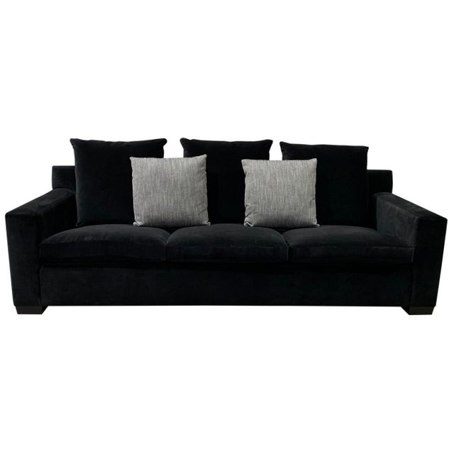 Fabric: R4318-33 - Black Cotton Velvet Finish: Ebonized 3 Down Seat Cushions 3 Down Back Pillows 2 Down Throw Pillows...