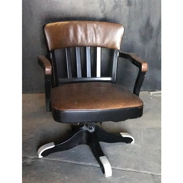 Vintage Italian 60s Iron Swivel Office Chair Seat H 17