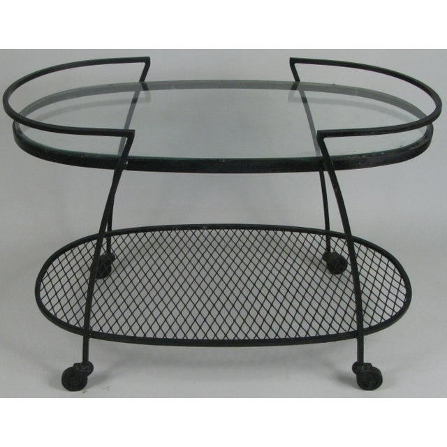 Black Oval Wrought Iron 'Pinecrest' 1950s Bar Cart by Woodard For Sale - Image 8 of 8