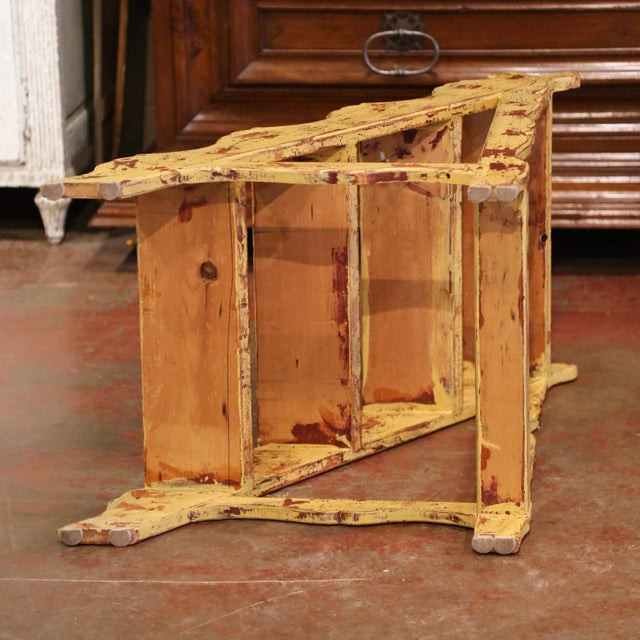 Mid-Century French Country Carved and Painted Pine Library Step Ladder For Sale - Image 12 of 13