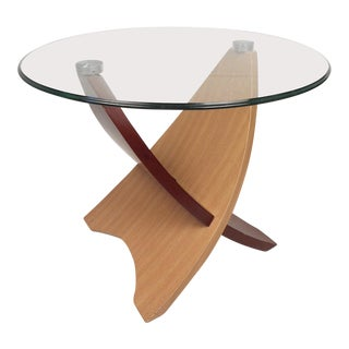 Modern Side Table With Glass Tabletop For Sale