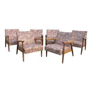 Mid-Century Modern Wooden Floral Vinyl Chairs - Set of 6