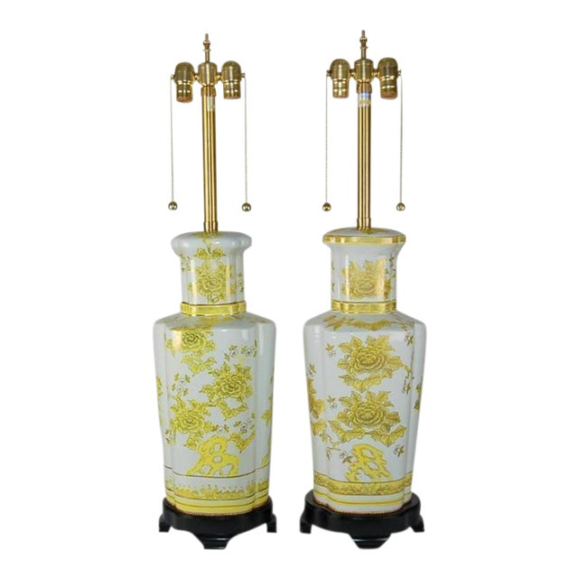 Marbro Italian Porcelain Table Lamps Yellow For Sale