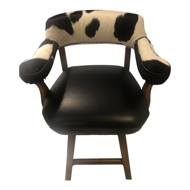 Horchow Black Leather/Cowhide Barstool For Sale