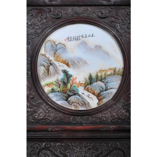 Pair of Chinese Large Circular Porcelain Hand Painted Panels For Sale - Image 4 of 9