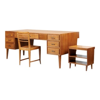 1950s Mid-Century Modern Gio Ponti Monumental Desk and Chair Set - 2 Pieces For Sale
