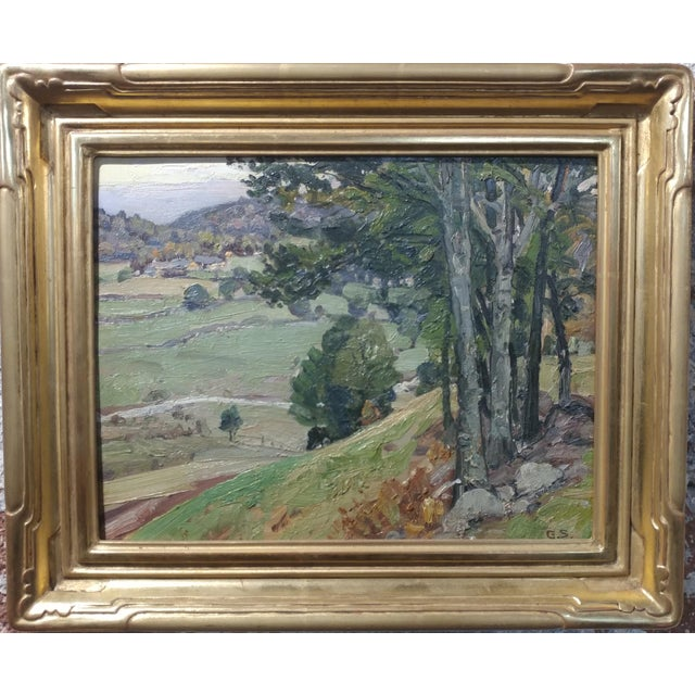 George Gardner Symons-A View down to the Farm-Oil painting-Important Impressionist Oil painting on board -Signed Initials...