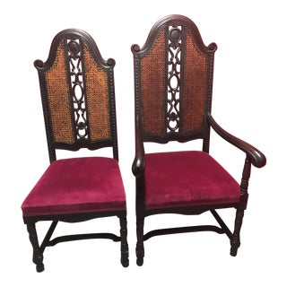 Solid Black Walnut William and Mary, His and Her Chairs - a Pair For Sale