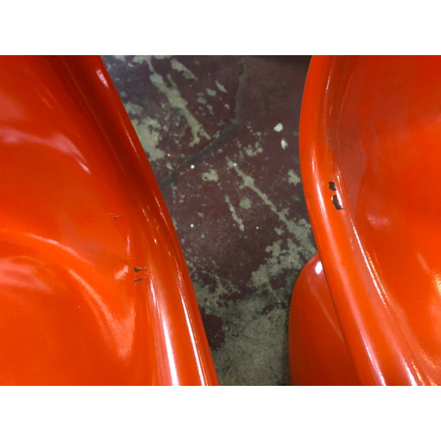 Vintage Vitra for Herman Miller Mid-Century Modern Orange Verner Panton S Chairs - a Pair For Sale - Image 11 of 13