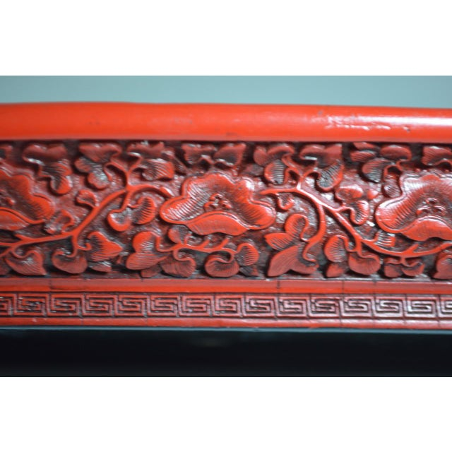 1970s 1970s Asian Red Lacquer Cinnabar Tray W/ Carved Dragons For Sale - Image 5 of 8