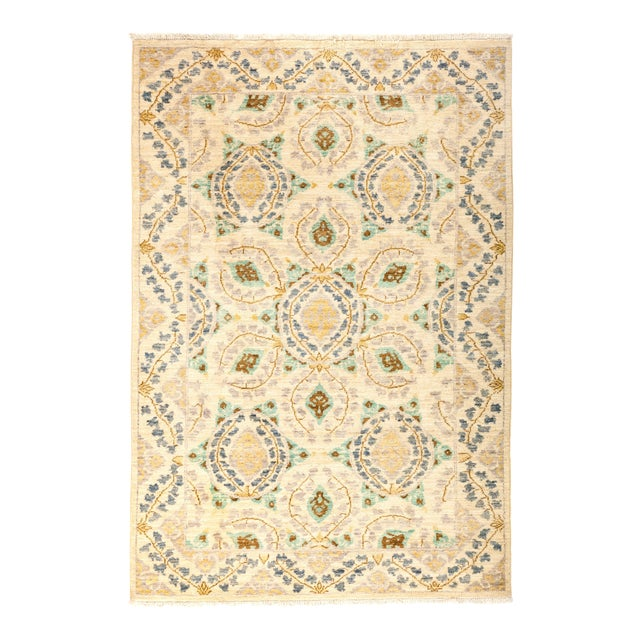 "Suzani Hand Knotted Area Rug - 4' 1"" X 6' 0"" - Image 1 of 4"