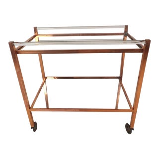 Mid-Century Modern Copper and Lucite Bar Cart