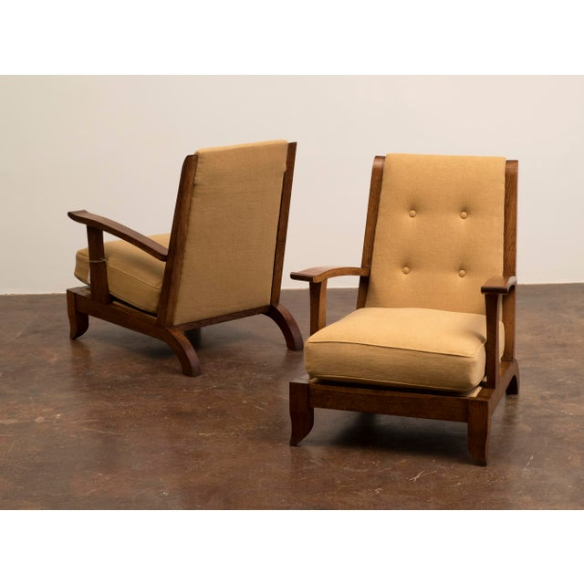 Pair of French Lounge Chairs in Oak and Belgian Linen, 1940s For Sale - Image 13 of 13
