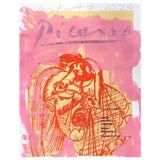 Image of Framed Picasso Poster Painting by Sean Kratzert, 'Pink Red Lady' For Sale