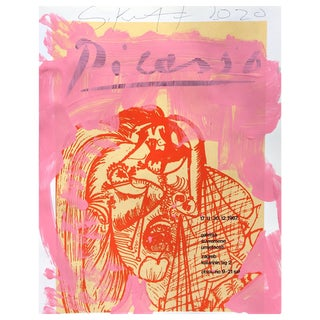Framed Picasso Poster Painting by Sean Kratzert, 'Pink Red Lady' For Sale