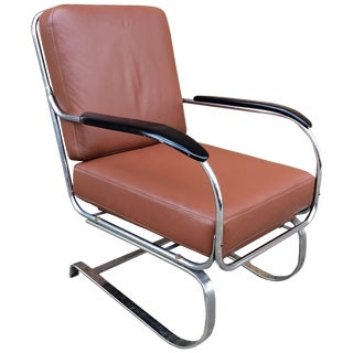 1930s Vintage Machine Age Kem Weber for Lloyd Chrome and Leather Lounge Chair For Sale