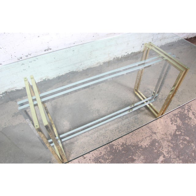 Metal Hollywood Regency Dining Table in Brass, Chrome, and Glass For Sale - Image 7 of 8