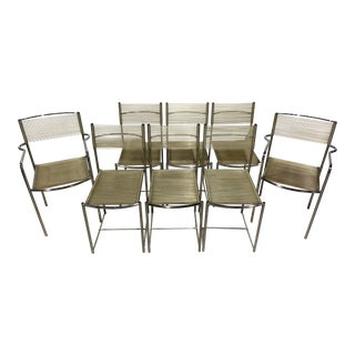 1970s Vintage Giandomenico Belotti for Alias Italy Chrome Spaghetti Chairs- Set of 8 For Sale