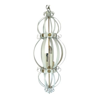 Vintage French Regency Wrought Iron Cage Chandelier