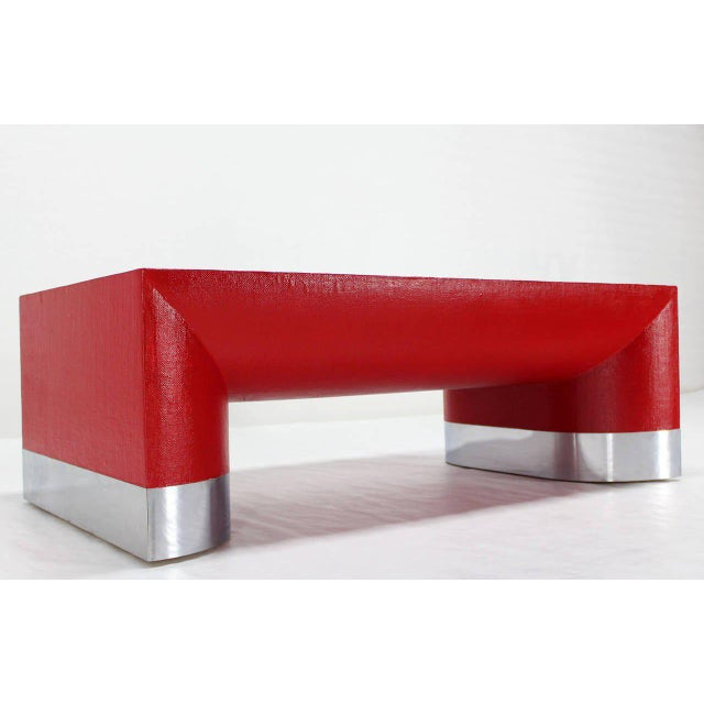 Aluminum Large Rectangle Grass Cloth Mid-Century Modern Coffee Table in Fire Red For Sale - Image 7 of 8