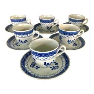Blue & White Denmark Espresso Set For Sale