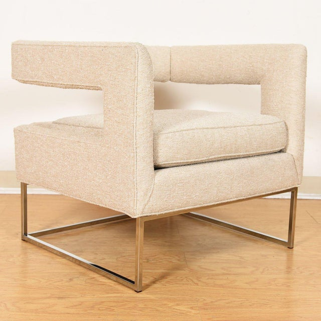 Metal Pair Milo Baughman Open Back Club Chairs For Sale - Image 7 of 13