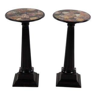 20th Century Italian Inlaid Marble Top Pedestal Tables - a Pair For Sale