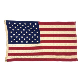 Vintage Tea-Stained American Flag For Sale