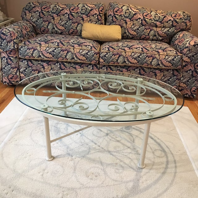 Ethan Allen Oval Iron & Glass Cocktail Table - Image 3 of 3