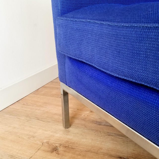 Blue 1960s Florence Knoll Three Seater Sofa W/ Original Fabric For Sale - Image 8 of 13