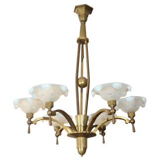 Vintage Petitot Brass Chandelier With Waterfall Opaline Shades For Sale