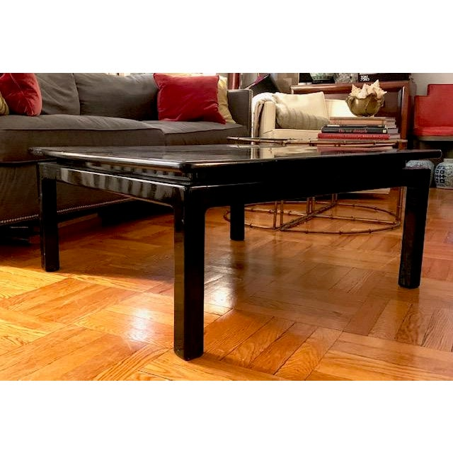 Black Mid Century Italian Black Lacquered Float Top Coffee Table For Sale - Image 8 of 10