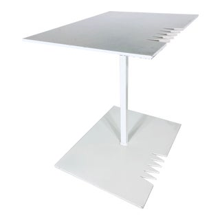 Artist Signed White Lacquered Steel Side Table For Sale