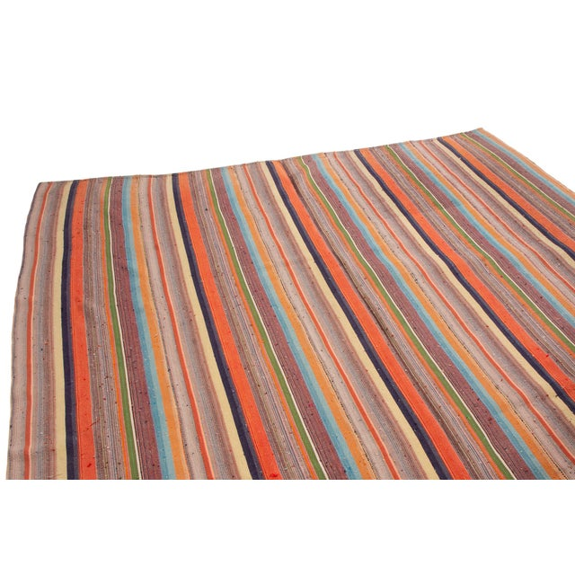 Contemporary Contemporary Striped Wool Kilim Rug - 6′10″ × 11′6″ For Sale - Image 3 of 6