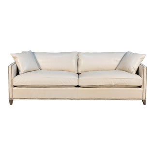 Rivera Ivory Leather Sofa For Sale