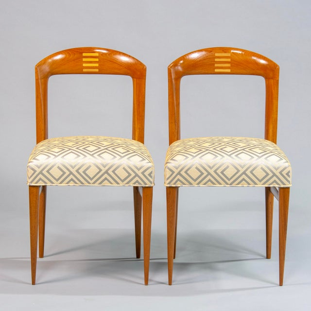 Art Deco Set of Eight Art Deco Beech Chairs With New Upholstery For Sale - Image 3 of 12