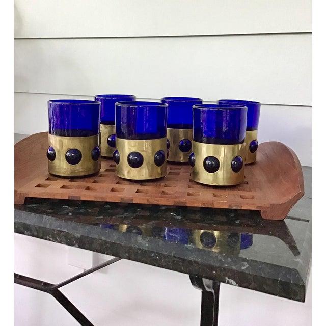 Brutalist 1960s Brutalist Caged Imprisoned Cobalt and Brass Tumblers - Set of 6 For Sale - Image 3 of 4