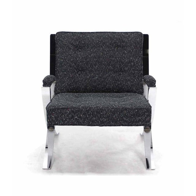 Rare mid-century modern scissor X base lounge chair with new upholstery.