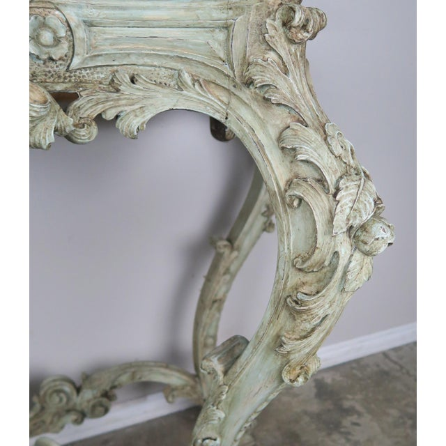 19th Century French Rococo Style Painted Console With Carrara Marble Top For Sale - Image 9 of 13
