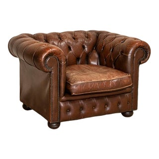 Original Vintage Leather Chesterfield Club Chair, England