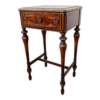 Antique Jacobean Style Side Table With Drawer by Berkey & Gay For Sale